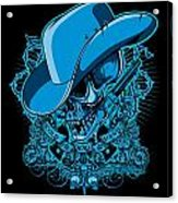 Dcla Skull Cowboy Cold Dead Hand 2 Acrylic Print by David Cook Los Angeles