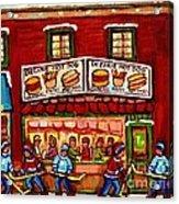 Decarie Hot Dog Restaurant Cosmix Comic Store Montreal Paintings Hockey Art Winter Scenes C Spandau Acrylic Print