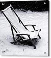 Deck Chair Under The Snow Acrylic Print