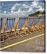 Deckchairs At Southend Acrylic Print
