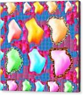 Deco Pattern Patchup Collage Crystals Jewels Rose Flower Petals Acrylic Print