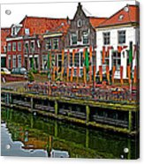 Decorations For Orange Day To Celebrate The Queen's Birthday In Enkhuizen-netherlands Acrylic Print