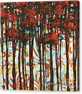 Decorative Abstract Floral Bird Landscape Painting Forest Of Dreams II By Megan Duncanson Acrylic Print by Megan Duncanson