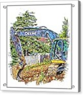 Deere For Hire2 - Excavator - Digger Acrylic Print