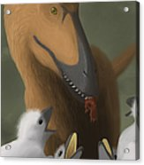 Deinonychus Dinosaur Feeding Its Young Acrylic Print by Michele Dessi
