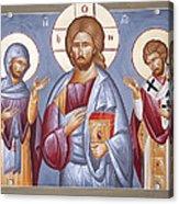 Deisis Jesus Christ St Anastasios And St Eleftherios Acrylic Print by Julia Bridget Hayes