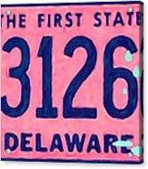 Delaware License Plate Acrylic Print