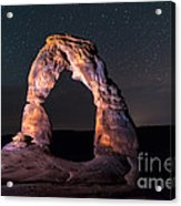Delicate Arch At Night Against Beautiful Night Sky Acrylic Print
