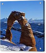 Delicate Arch In Snow Arches National Park Utah Acrylic Print