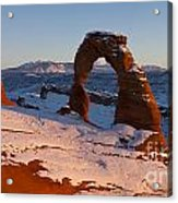 Delicate Arch With Snow At Sunset Arches National Park Utah Acrylic Print