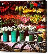Delivery Bikes At Flower Market Acrylic Print