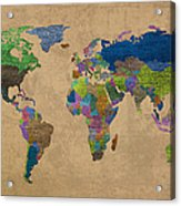 Denim Map Of The World Jeans Texture On Worn Canvas Paper Acrylic Print