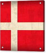 Denmark Flag Vintage Distressed Finish Acrylic Print by Design Turnpike
