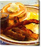 Denny's Grand Slam Breakfast - Painterly Acrylic Print by Wingsdomain Art and Photography