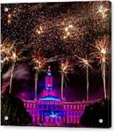 Denver Colorado Independence Eve Fireworks Acrylic Print by Teri Virbickis
