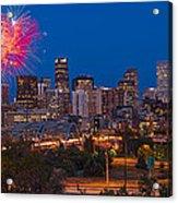 Denver Skyline Fireworks Acrylic Print