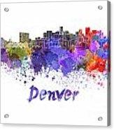 Denver Skyline In Watercolor Acrylic Print