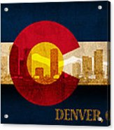 Denver Skyline Silhouette Of Colorado State Flag Canvas Acrylic Print
