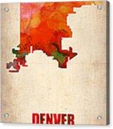 Denver Watercolor Map Acrylic Print by Naxart Studio
