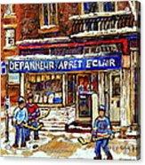 Depanneur Arret Eclair Verdun Rue Wellington Montreal Paintings Original Hockey Art Sale Commissions Acrylic Print