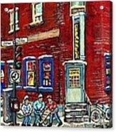 Depanneur Centre Pointe St Charles Montreal Verdun Paintings Hockey Art City Scenes Cspandau Acrylic Print