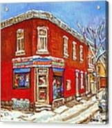 Depanneur Surplus De Pain Point St Charles Montreal Winterscene Paintings Cspandau Originals Prints  Acrylic Print