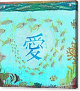 Depiction Of The Ocean With A School Of Fish Swimming Around A Heart Containing The Kanji Ai Meaning Acrylic Print