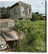 Derelict Morris And Old Truck On An Abandoned Farm Acrylic Print