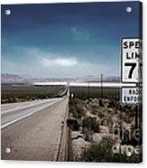 Desert Highway Road Sign Acrylic Print