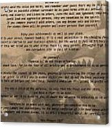 Desiderata Military Acrylic Print