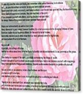 Desiderata On Garden Scene With Pink Roses Acrylic Print