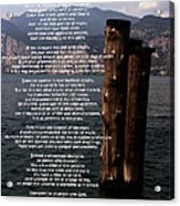Desiderata On Lake View Acrylic Print