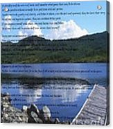 Desiderata On Pond Scene With Mountains Acrylic Print