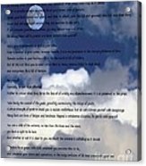 Desiderata On Sky Scene With Full Moon And Clouds Acrylic Print