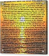 Desiderata Pismo Beach Golden Sunset Acrylic Print