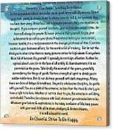 Desiderata Poem On Brighton Beach Watercolor Acrylic Print