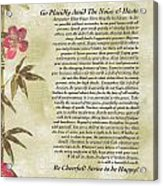 Desiderata Poem With Bamboo And Butterflies Acrylic Print