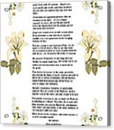 Desiderata With Art Acrylic Print by Anne Norskog