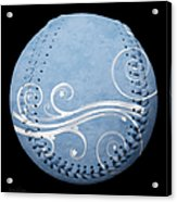 Designer Light Blue Baseball Square Acrylic Print