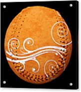 Designer Orange Baseball Square Acrylic Print