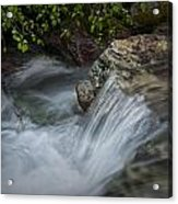 Detail Of A Small Water Fall In A Stream Acrylic Print