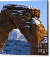 Detail Of Delicate Arch With Snow Arches National Park Utah Acrylic Print