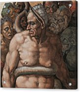 Detail Of The Last Judgment Acrylic Print by Michelangelo