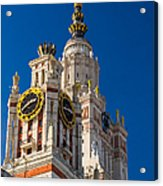 Detail Of The Main Building Of Moscow State University On Sparrow Hills Acrylic Print