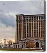 Detroit Central Station And Ambassador Bridge  Acrylic Print