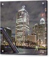 Detroit Fountain And Cityscape Acrylic Print