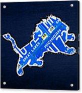 Detroit Lions Football Team Retro Logo License Plate Art Acrylic Print by Design Turnpike
