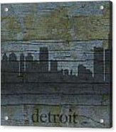 Detroit Michigan City Skyline Silhouette Distressed On Worn Peeling Wood Acrylic Print