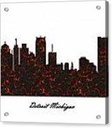Detroit Michigan Molten Lava Skyline Acrylic Print