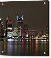 Detroit Nightime Skyline Acrylic Print